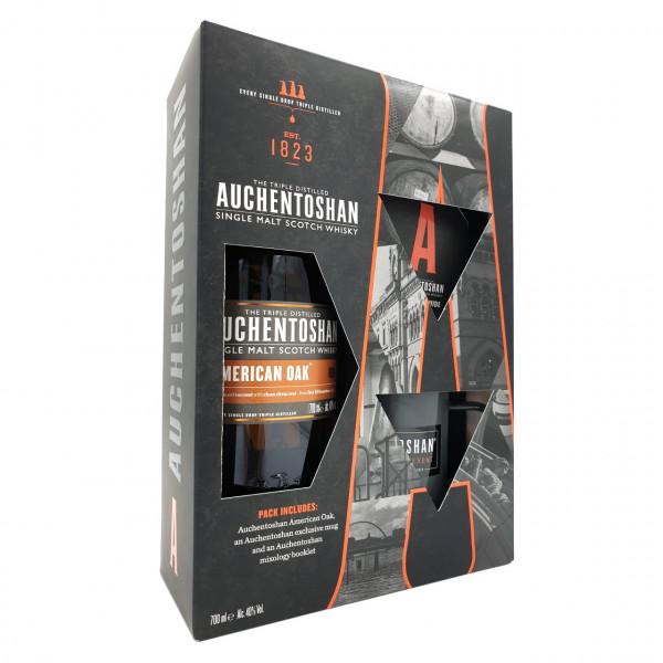 Auchentoshan - American Oak Gift Pack met Mok & Mixology Boekje (70CL)