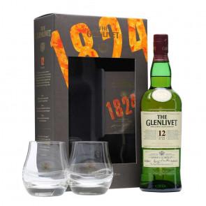 Glenlivet, 12 Y (Whiskygeschenk met glazen) (70CL)