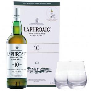 Laphroaig, 10 Y Cadeau met 2 Glazen (70CL)
